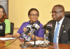 Lagos State Attorney General & Commissioner for Justice/Chairman, DSVRT, Mr. Adeniji Kazeem (middle); Director, Citizen & Right Alternate, Mrs. Omotilewa Ibirogba and Coordiantor, Domestic and Sexual Violence Response Team (DSVRT), Mrs. Titilola Vivor-Adeniyi during a media parley to commemorate the Domestic and Sexual Violence Awareness Month at the Bagauda Kaltho Press Centre, Alausa, Ikeja, on Tuesday, September 5, 2017.