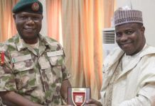Aminu Tambuwal and Brigadier-General SO Olabanji of the Nigerian Army