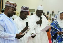 Sokoto first female professor Professor Aishatu Madawaki being sworn-in as comissioner along with others