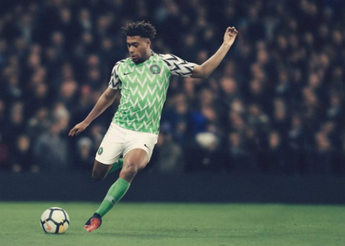 Alex Iwobi in Nike Super Eagles World Cup jersey