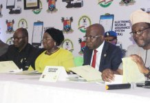 Representative of Lagos State Governor and Deputy Governor, Dr. (Mrs) Oluranti Adebule (middle); Commissioner for Finance, Mr. Akinyemi Ashade (2nd right); his counterpart for Tourism, Arts & Culture, Mr. Steve Ayorinde (right); Chairman, Lagos State Internal Revenue Service (LIRS), Mr. Ayodele Subair (2nd left) and Commissioner for Economic Planning & Budget, Mr Olusegun Banjo (left) during a Stakeholders' meeting on Fiscalization of Hotel Occupancy & Restaurant Consumption Tax Law at the Banquet Hall, Lagos House, Alausa, Ikeja on Thursday, February 22, 2018.