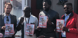 Desmond Elliot Kunle Afolayan Fola Adeyemi at unveiling of Cinema in Lagos in Cannes
