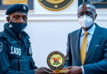 Babajide Sanwo-Olu meets policeman Sunday Erhabor assaulted by reckless driver