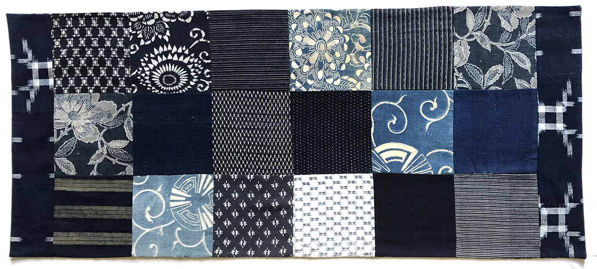 Table Runner with Blue Squares © Susan Ball Faeder