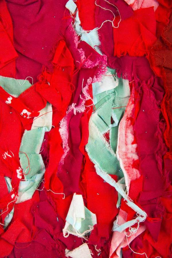 Detail of Arigato: Boro Boro Byobu 6 - Seafoam/Red © Susan Ball Faeder