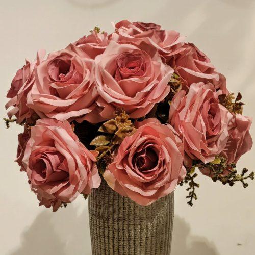 Buque de rosa artificial rosa escuro com vaso