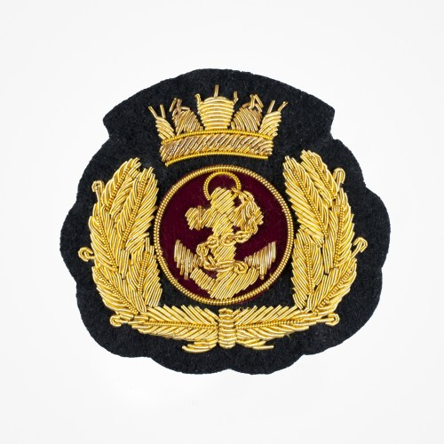 Gold Olive Branch Anchor Crown Marine Sailor Badge DIY Applique Embroidered Sew Iron on Patch