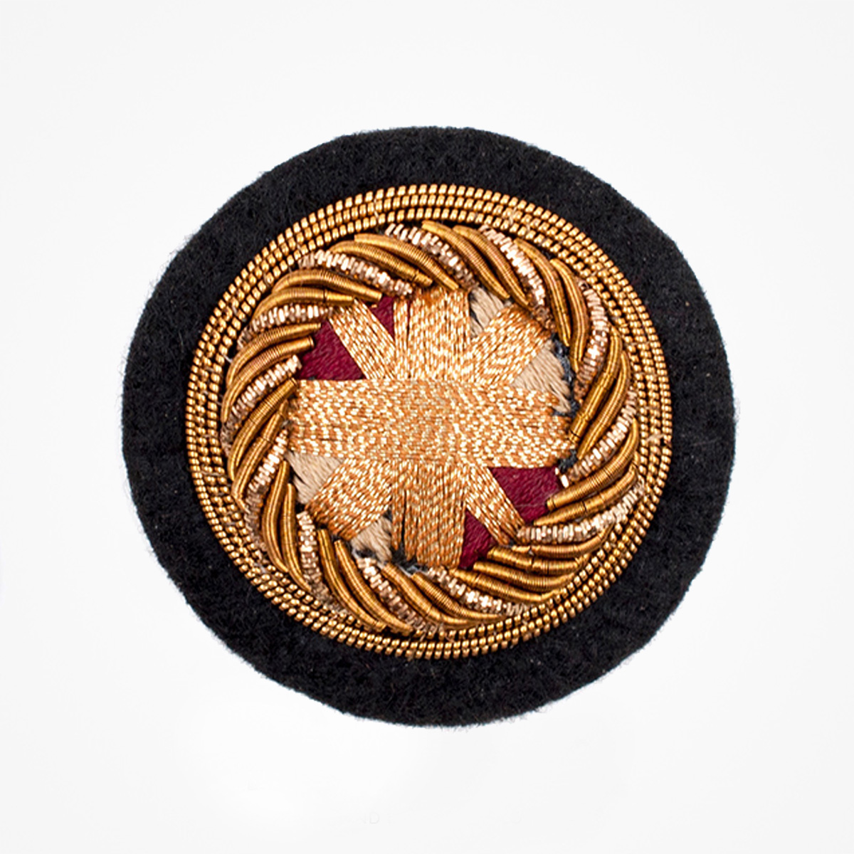 Qg - 3549 - Fashionable 3D embroidered look Made by skilled artisans Bullion wire and silk thread hand Stitched on Black color Felt Available in gold and silver colors Size = 40 mm height 40 mm width sewon backing: Perfect for caps, sports jacket, leather jackets, blazer coat, Blazer Pocket, shirts uniforms, Accessories and many More Pin backing: easy to removable 5