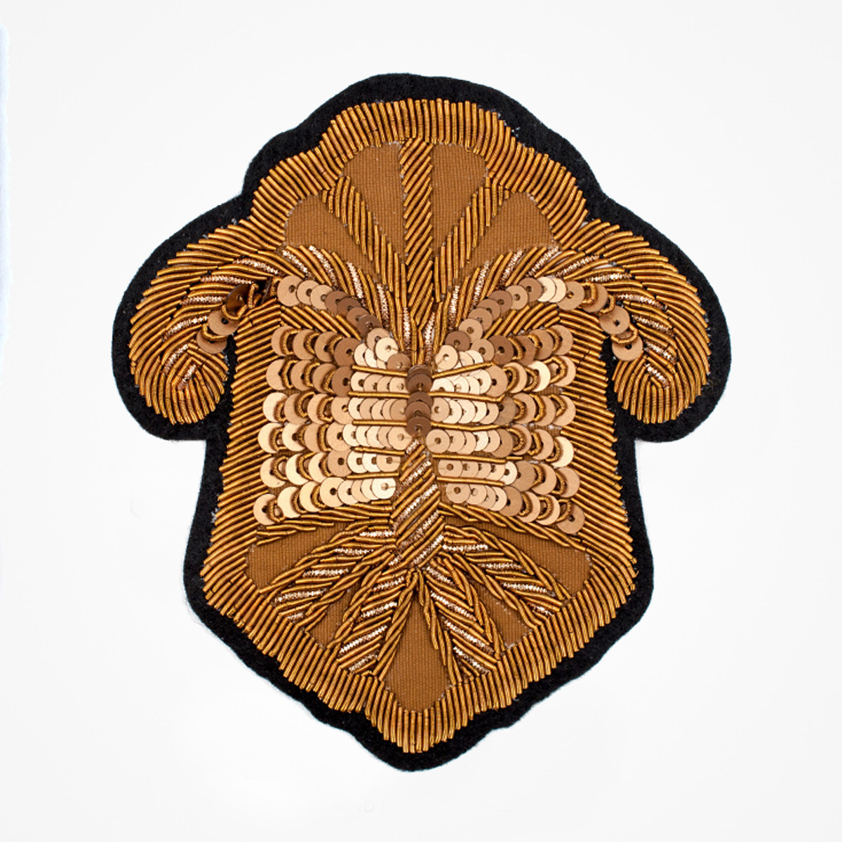 Qg - 3531 - Fashionable 3D embroidered look Made by skilled artisans Bullion wire and silk thread hand Stitched on Black color Felt Available in gold and silver colors Size = 115 mm height 100 mm width sewon backing: Perfect for caps, sports jacket, leather jackets, blazer coat, Blazer Pocket, shirts uniforms, Accessories and many More Pin backing: easy to removable 5