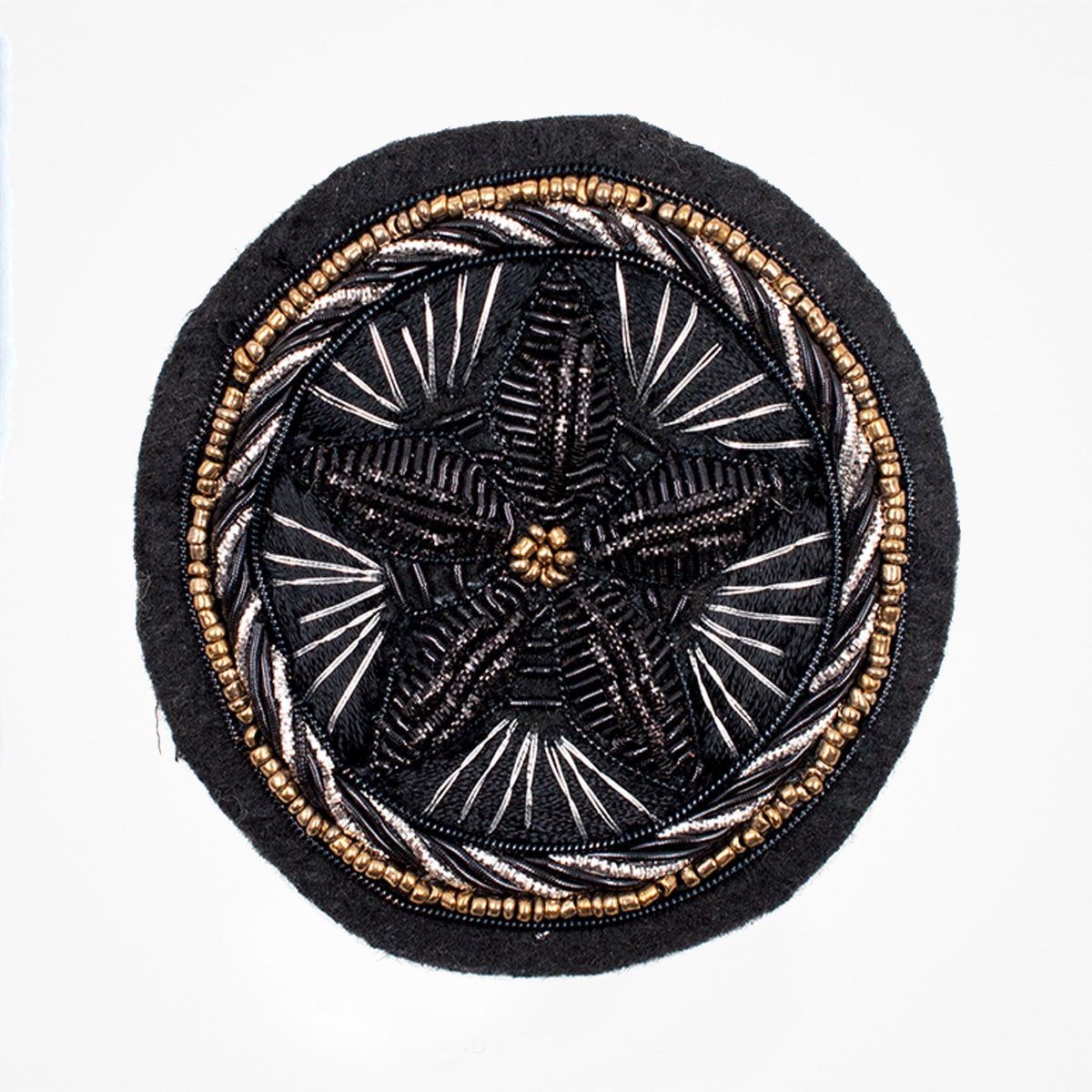 Qg - 3486 - Fashionable 3D embroidered look Made by skilled artisans Bullion wire and silk thread hand Stitched on Black color Felt Available in gold and silver colors Size = 65 mm height 65 mm width sew-on backing: Perfect for caps, sports jacket, leather jackets, blazer coat, Blazer Pocket, shirts uniforms, Accessories and many More Pin backing: easy to removable 5