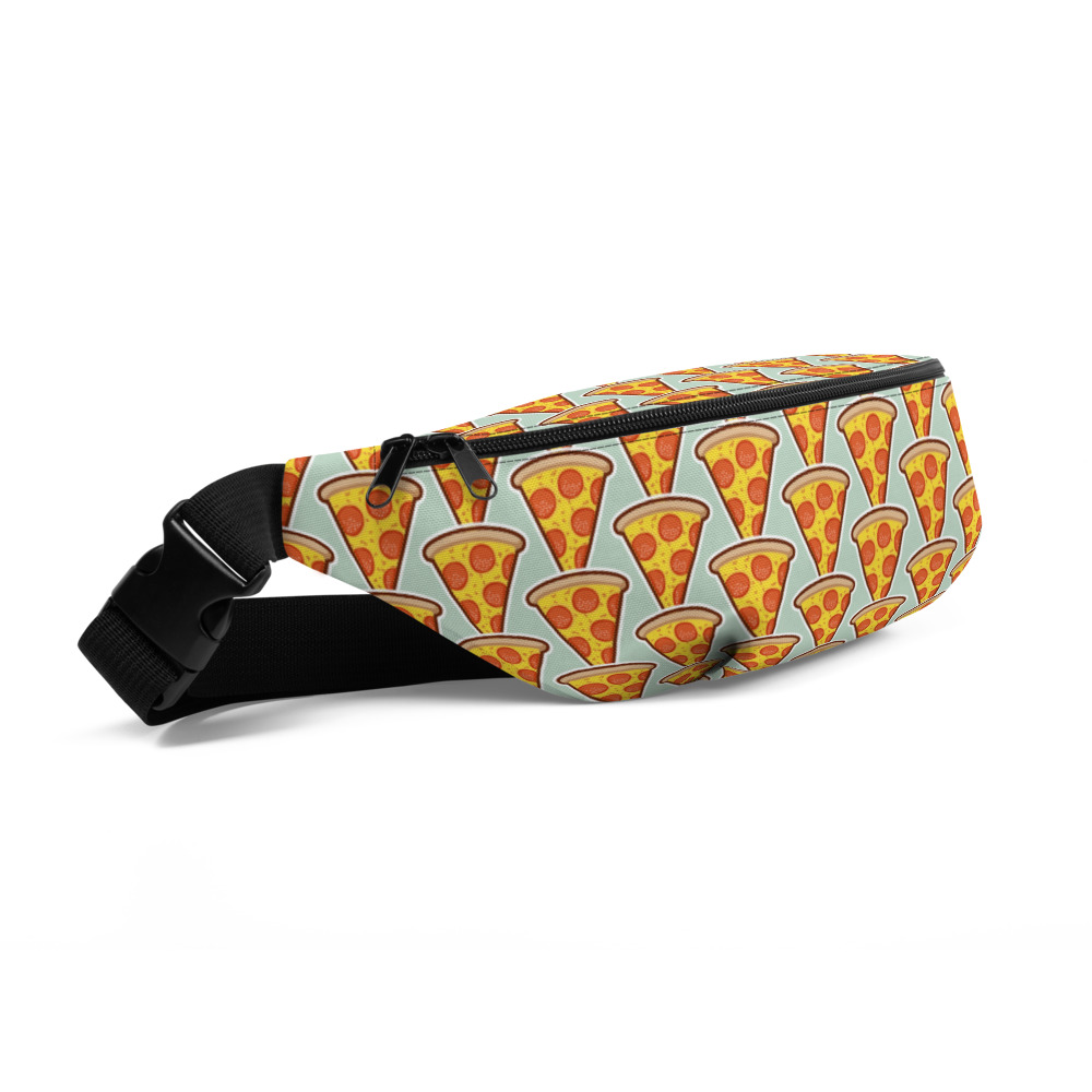 Pizza Fanny Pack - 100% polyester • Fabric weight: 9.91 oz/yd² (336 g/m²) • Dimensions: H 6.5'' (16cm), W 13'' (33cm), D 2¾'' (7cm) • Water-resistant material • Top zipper with 2 sliders • Small, customizable inner pocket without zipper • Silky lining, piped inside hems • 1¼'' wide adjustable straps with plastic strap regulators 2