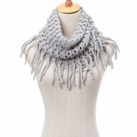 Women Cool Winter Warm Long Scarf Infinity 2 Circles Cable