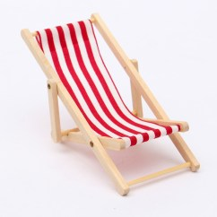 Pink Beach Chair My Event Covers Dolls House 1 12 Miniature Foldable Wooden Deckchair