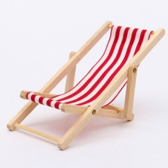 Mini Beach Chair Picture Frames Dining Chairs Leather Pink Dolls House 1 12 Miniature Foldable Wooden Deckchair