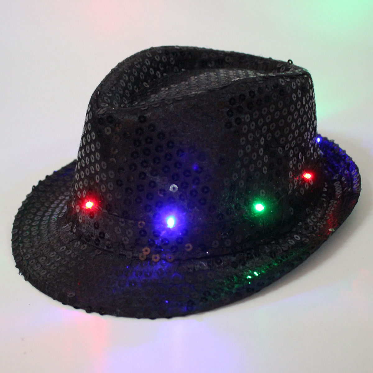 LED Flashing Light Up Hat Fancy Dress Ball Sequin Trilby