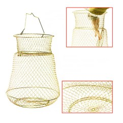 Folding Chair Trap How To Make A Mat Fold Foldable Bronze Tone Metal Steel Wire Fishing Pot