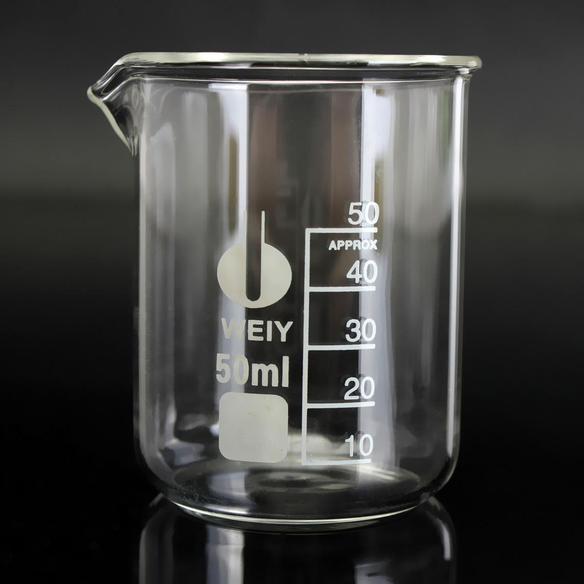 50ml Glass Beaker Borosilicate Chemistry Test Laboratory Chemical Measuring