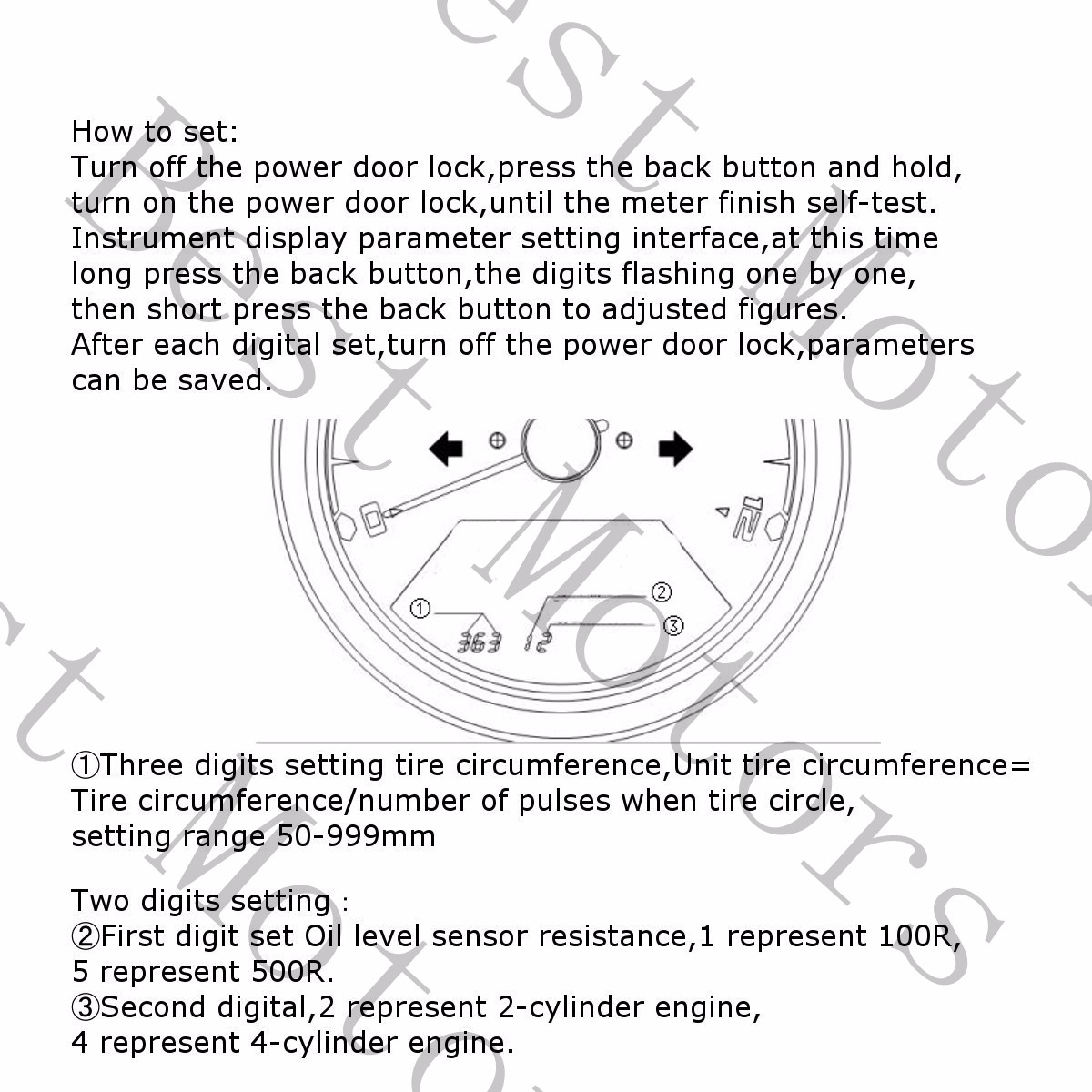 tachometer wiring diagram for motorcycle bms e bike 12000rpm lcd digital speedometer odometer 2 4