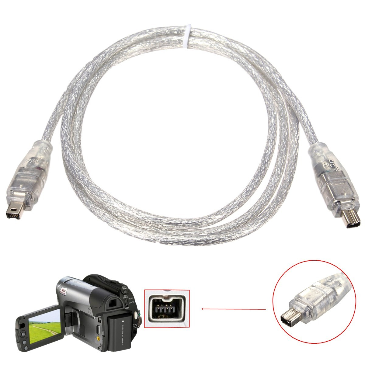 1 2m Ieee Standard 4 Pin Male To 4 Pin Male Firewire Dv Data Cable Adapter