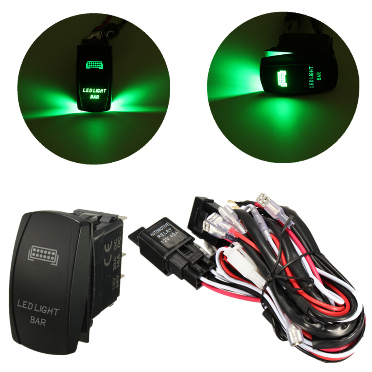 hight resolution of image is loading 12v wiring harness green led light bar laser