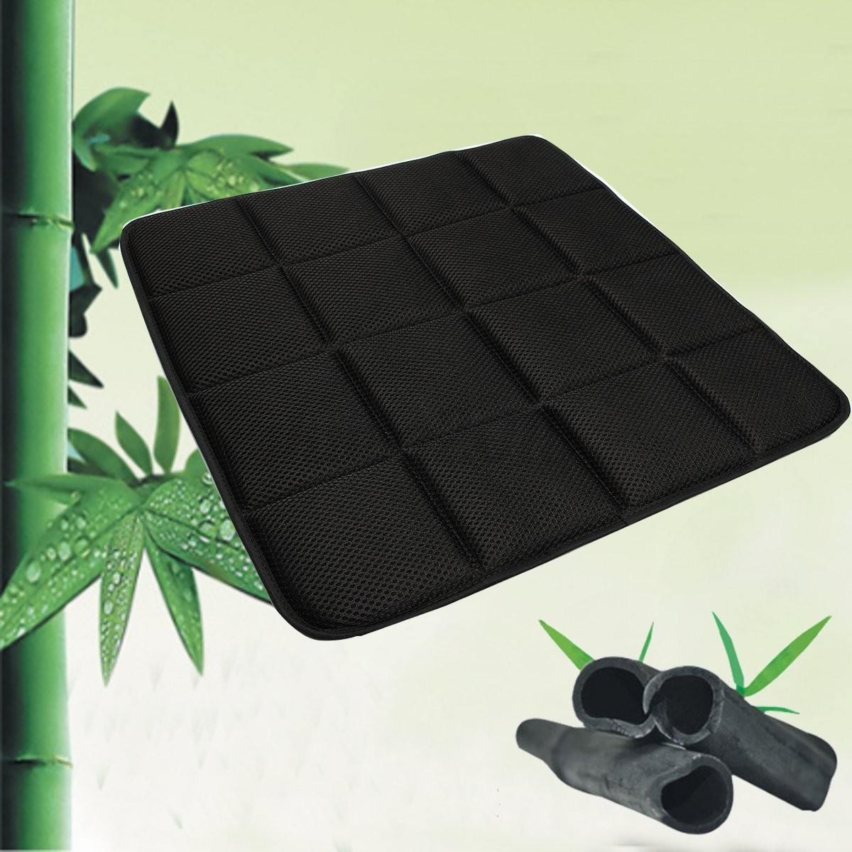 office chair seat covers black folding ground bamboo charcoal breathable cushion cover pad mat for
