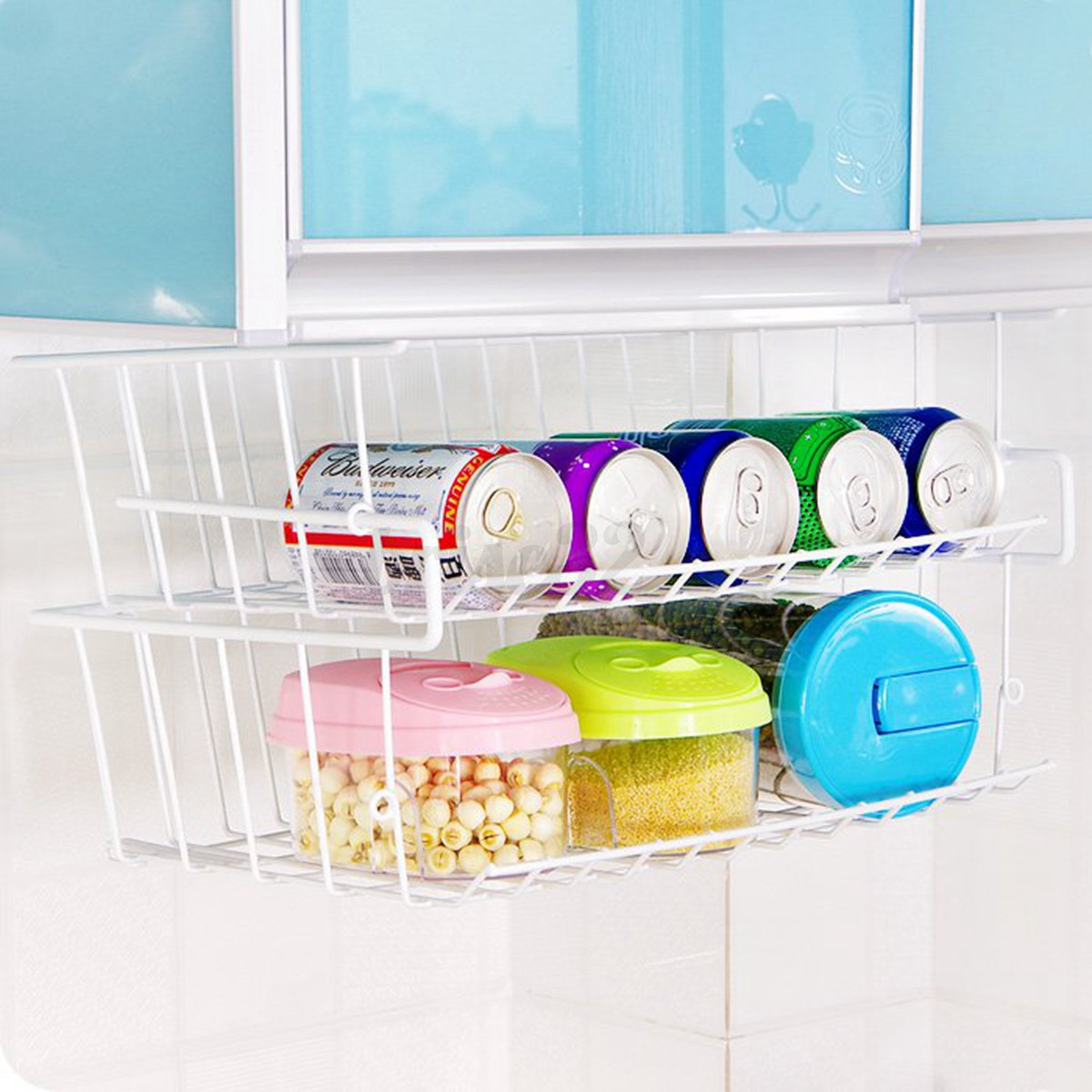 kitchen basket storage pantry cabinet under shelf wire rack holder space