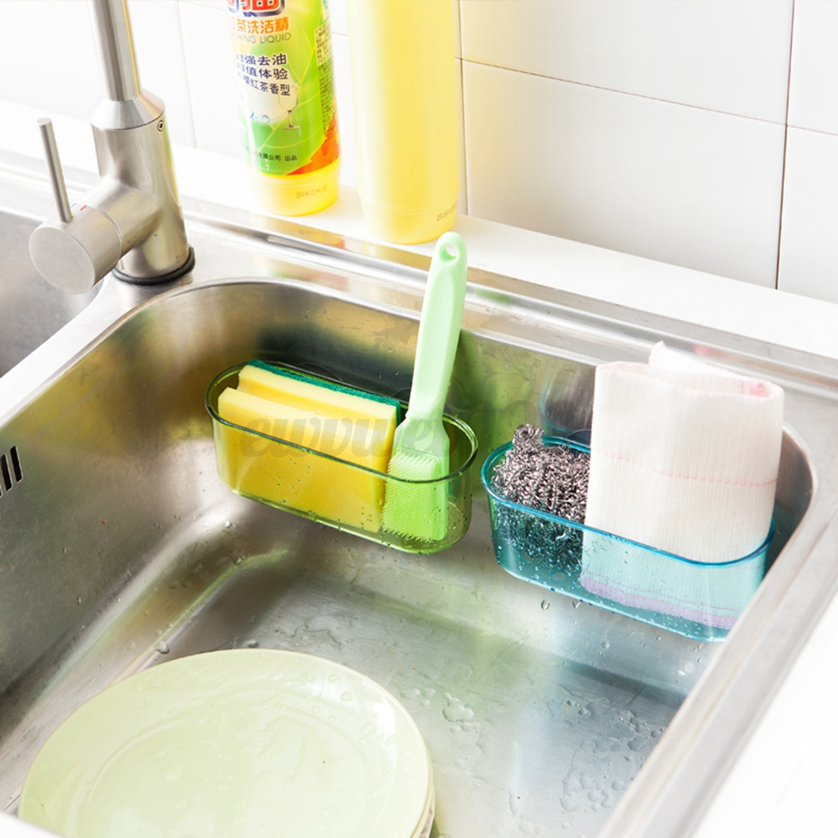 Kitchen Brush Holder Sponge Suction Sink Draining Towel