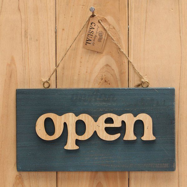 Vintage Open Closed Sign Plaque Cafe Book