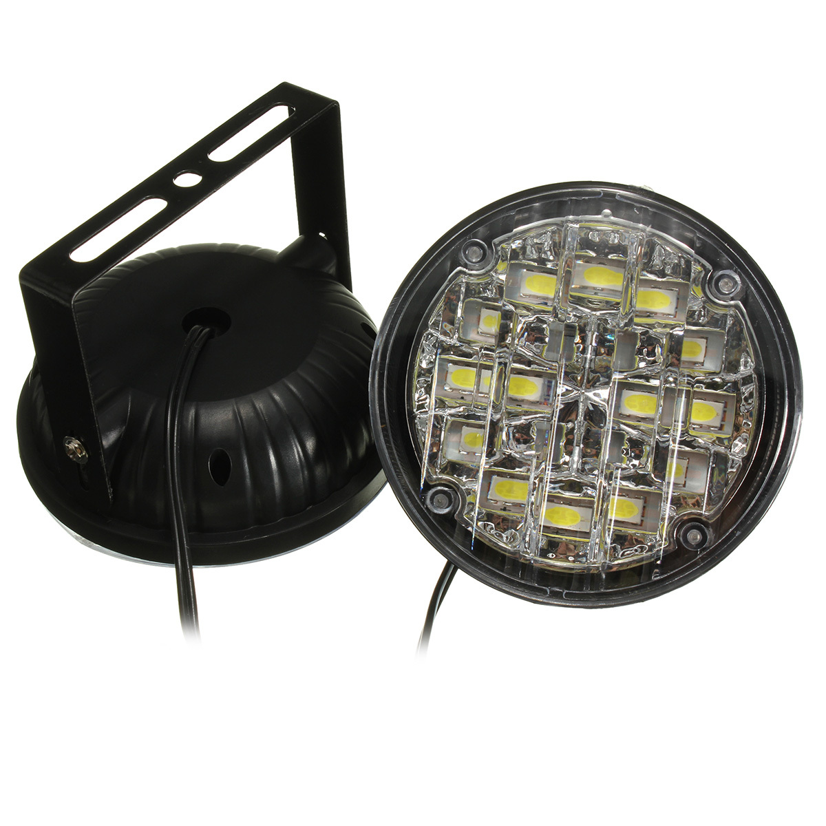 car led light wiring diagram chevy steering column 2x 18 round daytime driving running drl fog