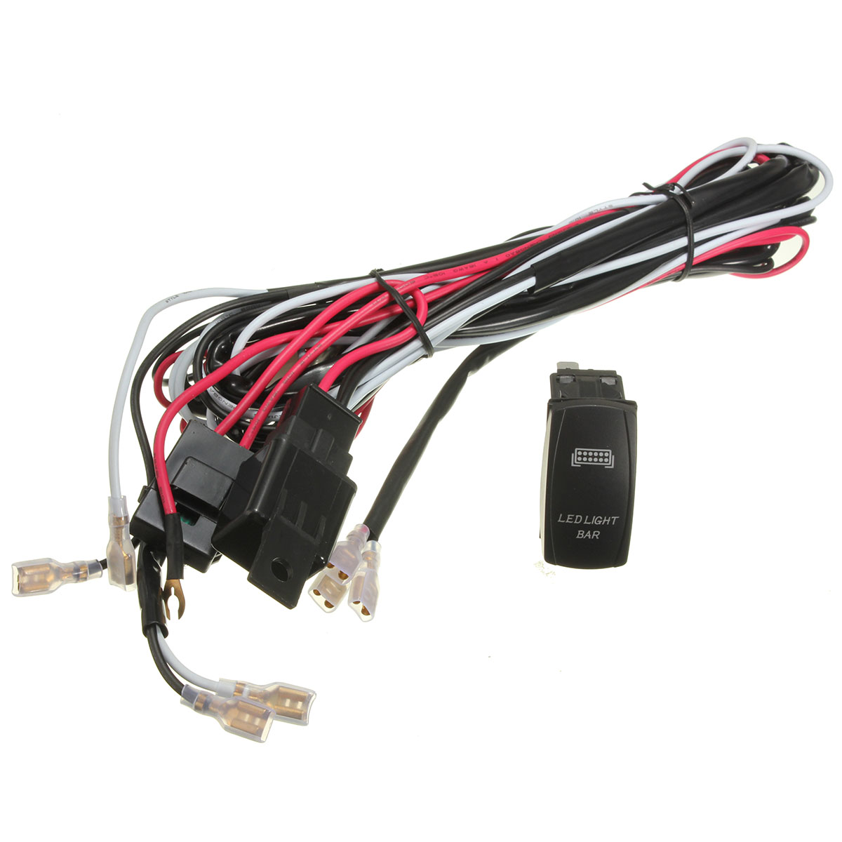 Led Light Bar Wiring Harness 12v 40a Relay On Off Laser Rocker Switch