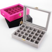 Velvet Glass Jewelry Ring Display Organizer Box Tray