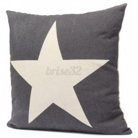 Cotten Linen Star Throw Pillow Case Cushion Cover Square ...
