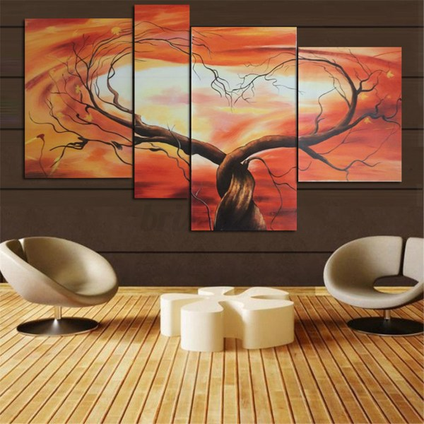 Modern Abstract Tree Flowers Poster Art Canvas Prints Painting Home Wall Decor