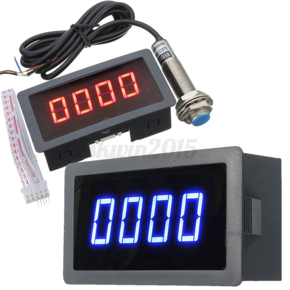 medium resolution of 4 digital led tachometer rpm speed meter hall proximity switch detail image led tachometer wiring diagram