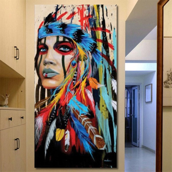 Abstract Indian Woman Canvas Oil Painting Print