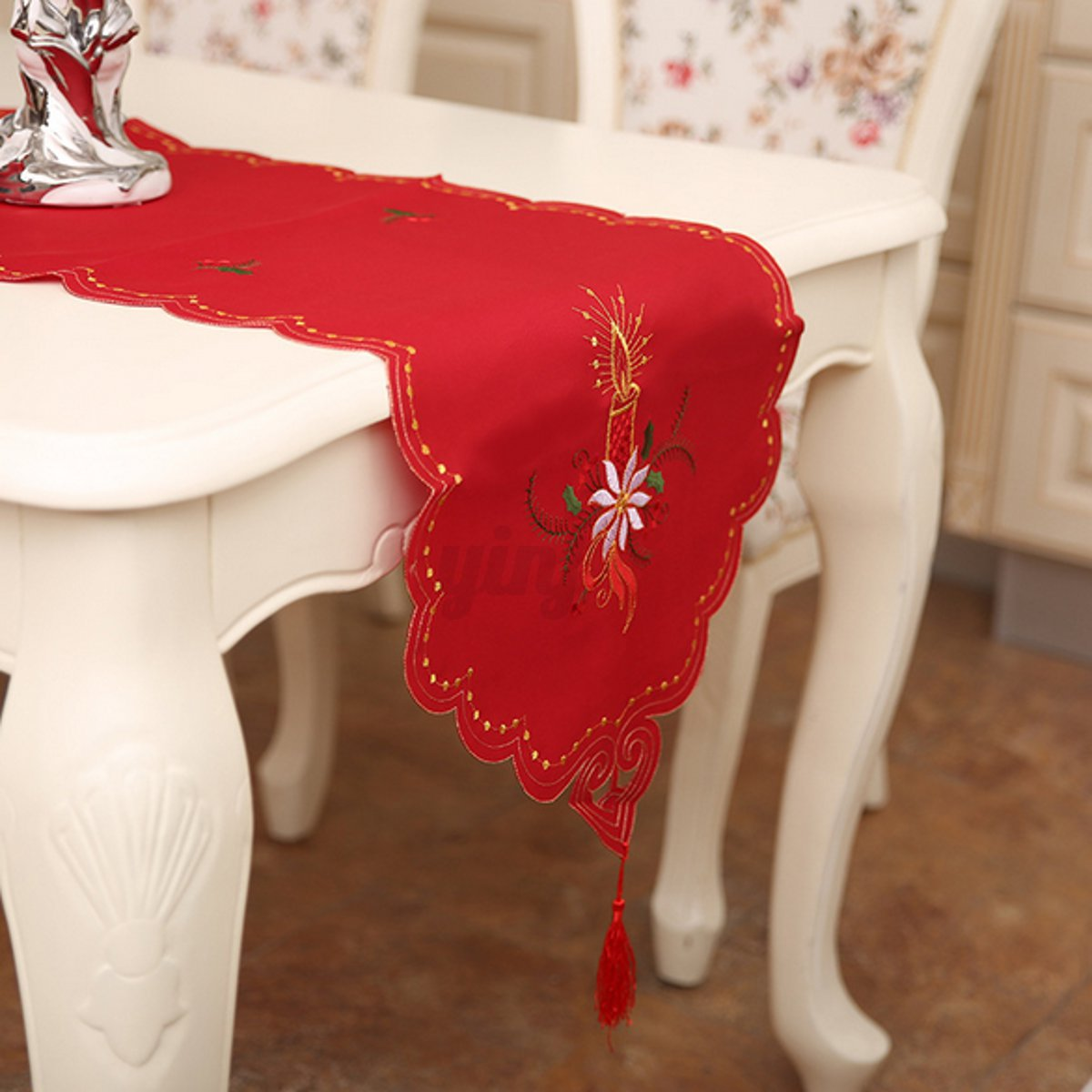 ebay uk christmas chair covers inglesina fast table black tablecloth embroidered cover runner