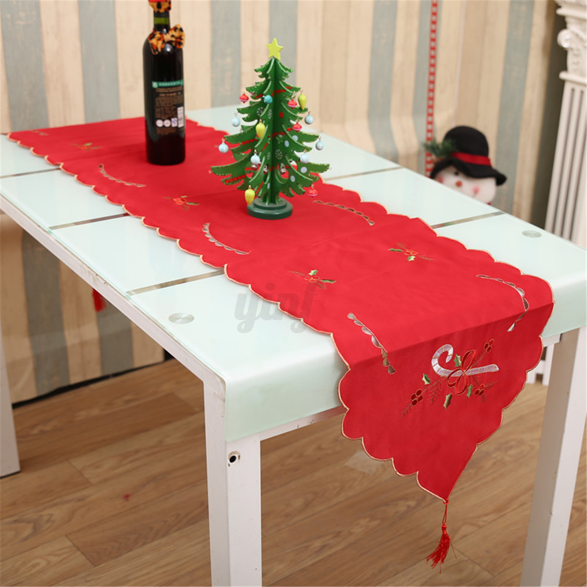christmas wedding chair covers baby shower ideas tablecloth embroidered table cover runner