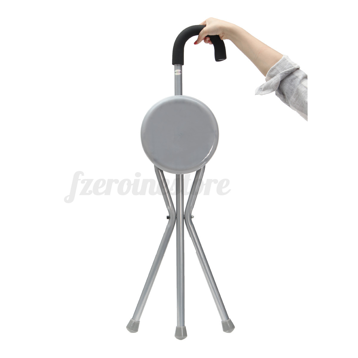 walking stick seat stool chair armless desk on casters travel cane camp hiking folding