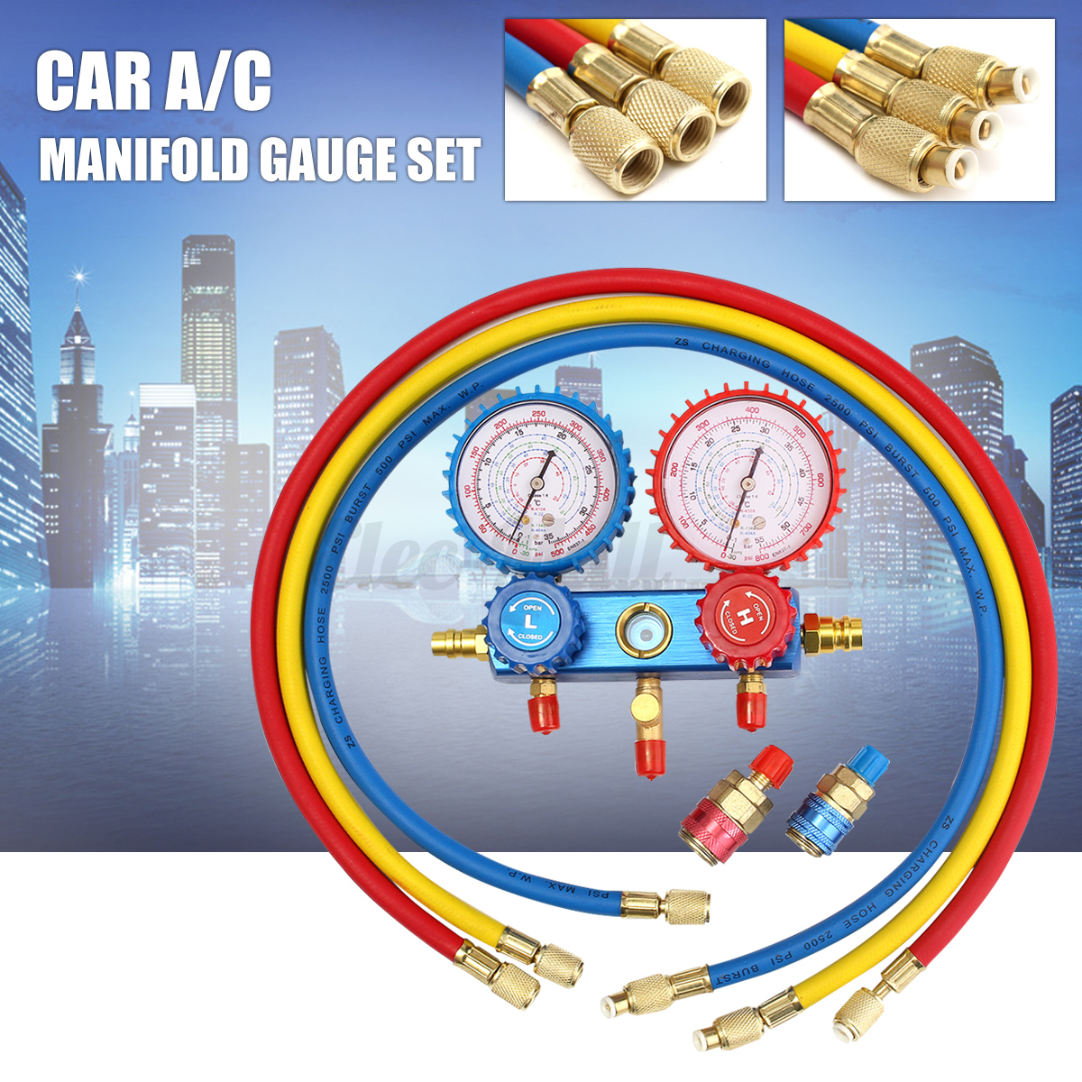 hight resolution of image is loading r134a refrigerant a c car manifold gauge set 36