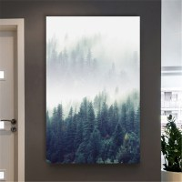 Abstract Style Forest&Bird Landscape Wall Art Canvas ...