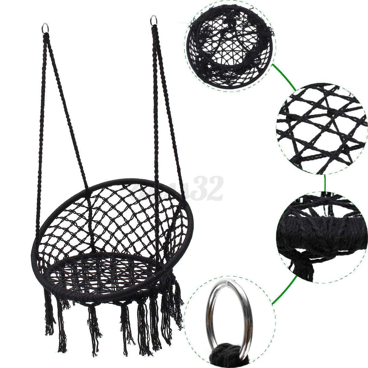 hanging chair ebay office overstock black cotton rope macrame hammock swing