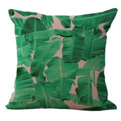 Tropical Sofa Throw Cover Wooden Set Design Picture Plants Plam Green Leaves Linen Pillow Case