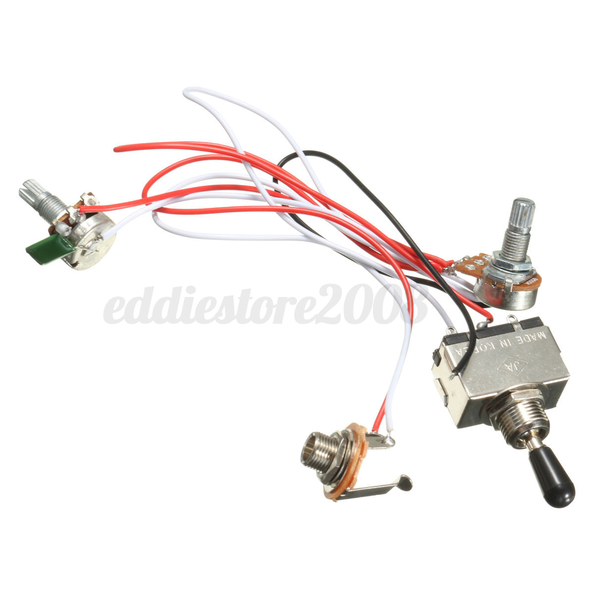hight resolution of electric guitar 3 way toggle switch wiring harness kit 1 volume 1 tone 500k 4 4 of 9