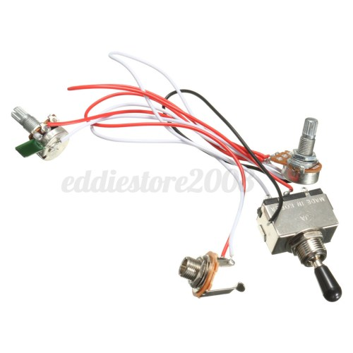 small resolution of electric guitar 3 way toggle switch wiring harness kit 1 volume 1 tone 500k 4 4 of 9