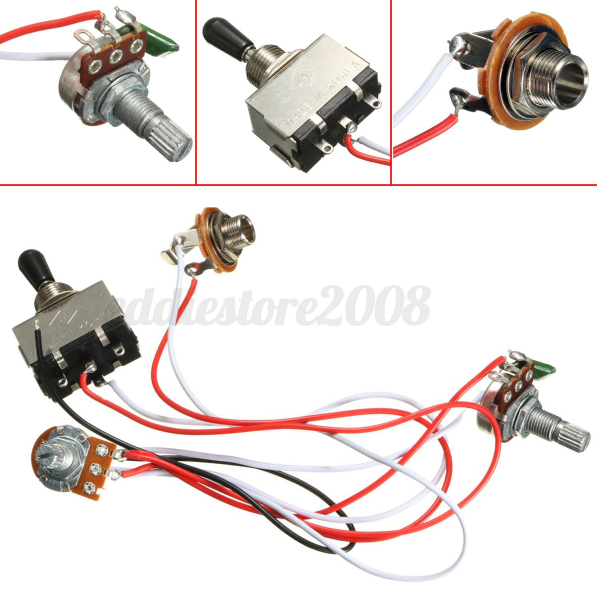 hight resolution of electric guitar 3 way toggle switch wiring harness kit 1 volume 1electric guitar 3 way toggle