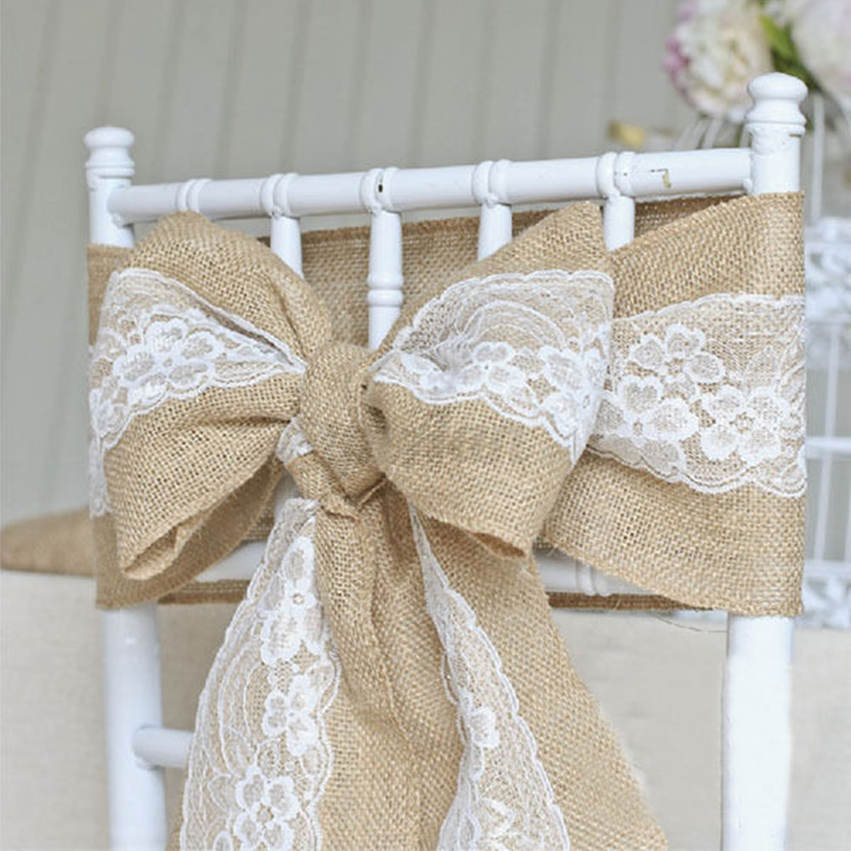 burlap chair covers for folding chairs high back accent 15 x 240cm vintage hessian jute lace sashes