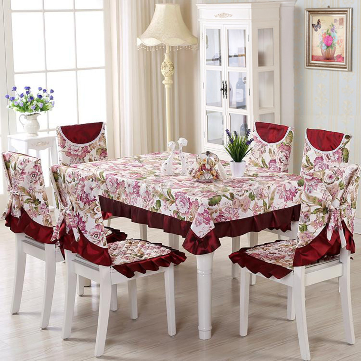 table and chair covers ebay ladies office vintage floral tablecloths cover polyester banquet