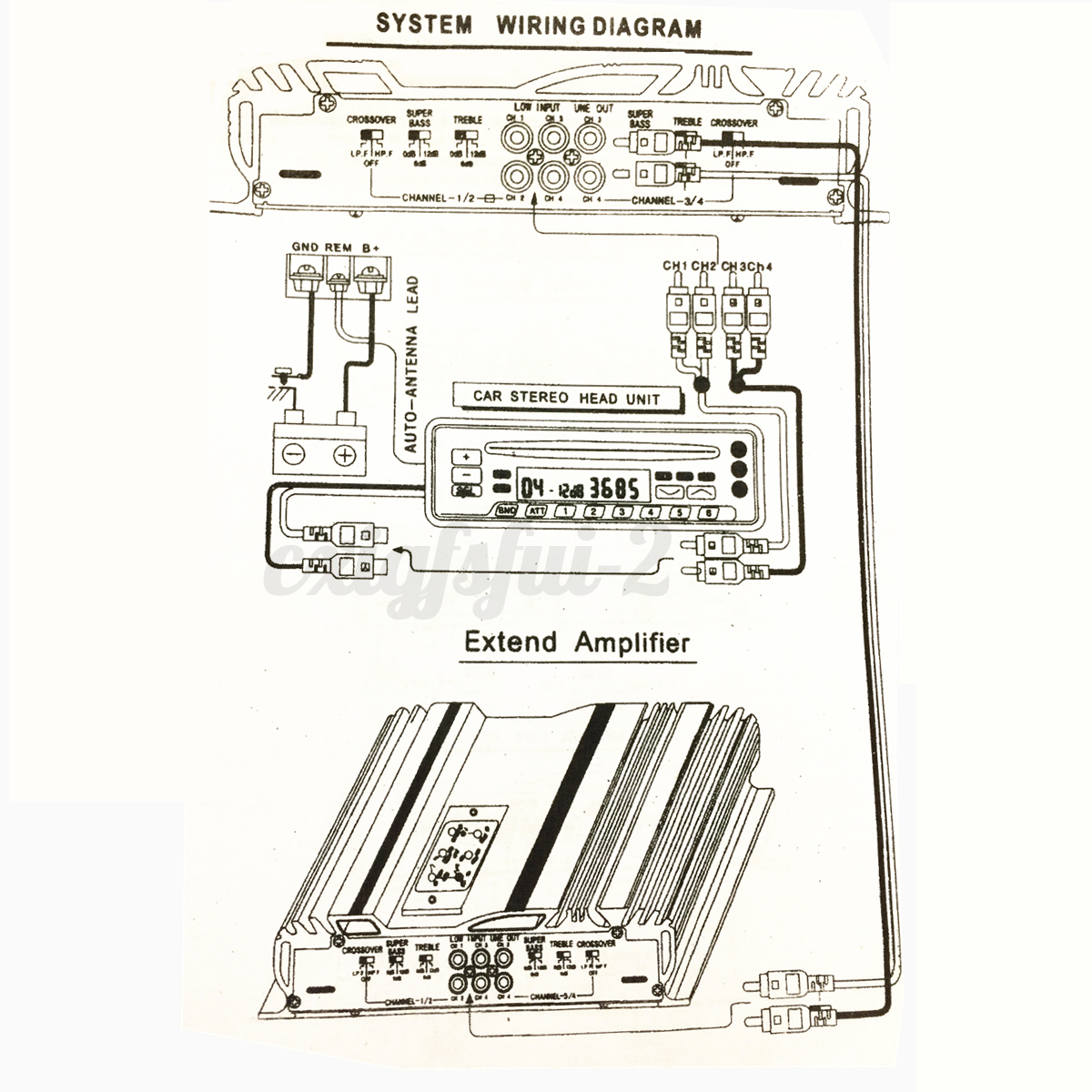2 channel car amp wiring diagram electricity diagrams v12 705 12v rms 4 ch audio power stereo 3800