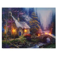 LED Forest House Light Up Lighted Canvas Painting Picture ...