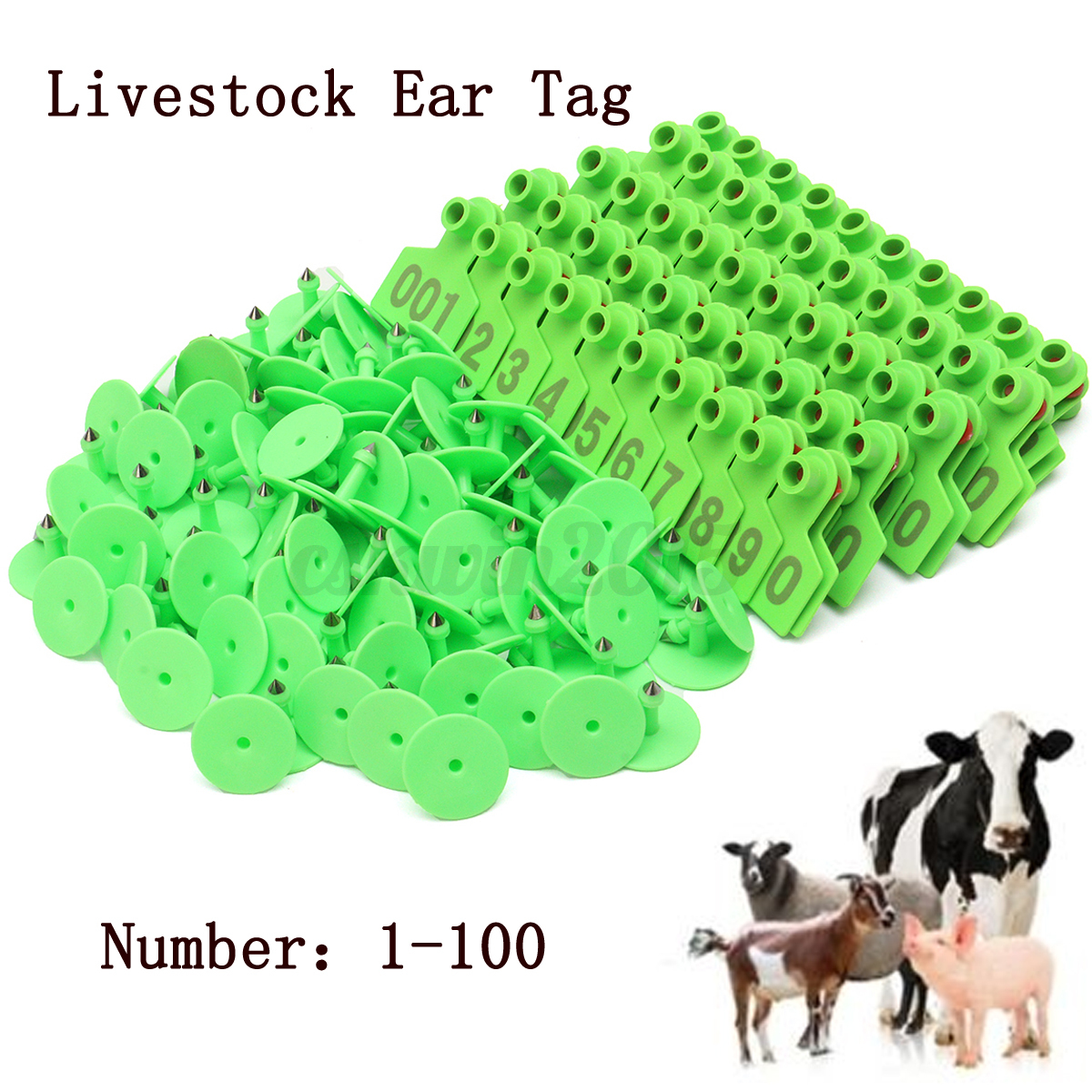 50x42mm Plastic Livestock 1 100 Number Animal Ear Tags For